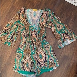Fun Patterned Romper - Size Small